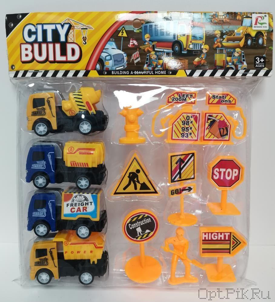 Набор 4 машинки + дорожные знаки (упаковка блистер)