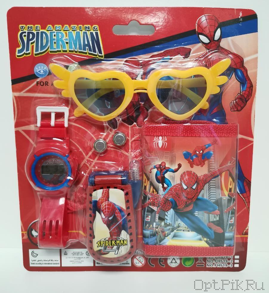 Набор Часы + кошелёк + телефон + очки (Человек паук)