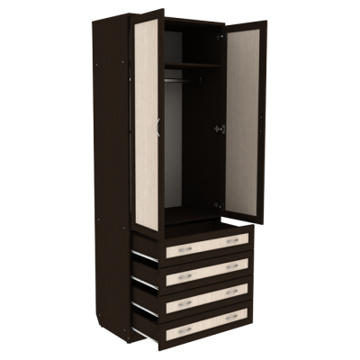 Шкаф для белья со штангой и ящиками арт. 103 (венге)
