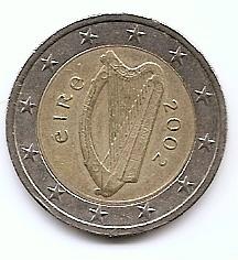2 евро  Ирландия  2002  регулярная из обращения