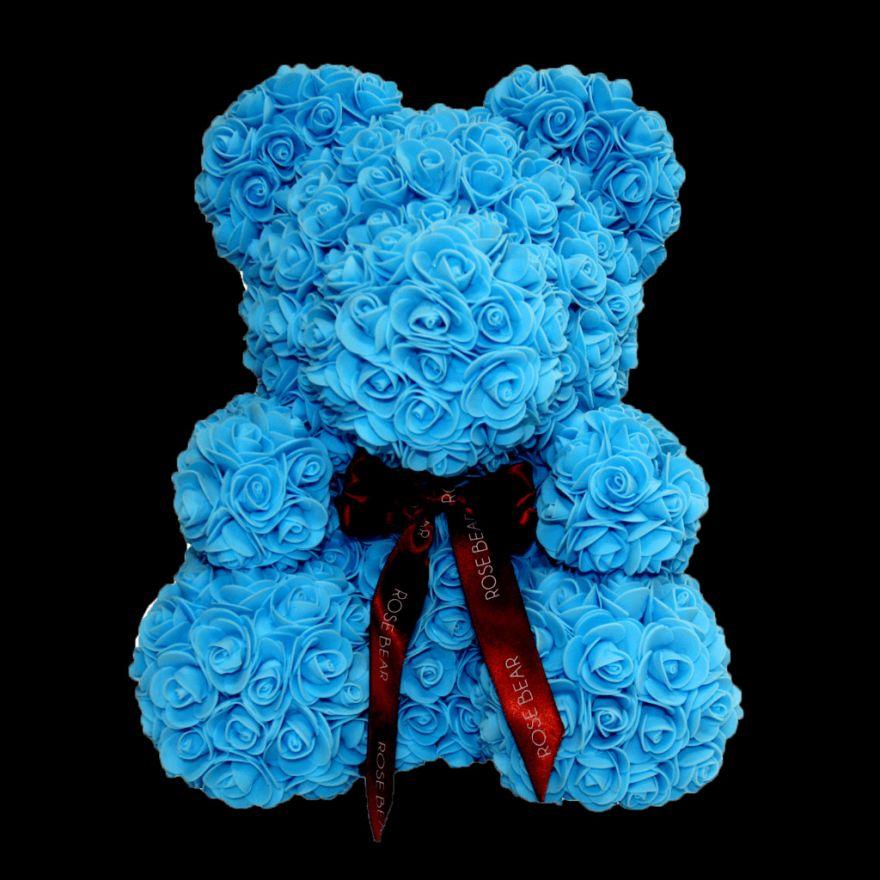 Мишка из роз с бантиком 3D 40 см голубой