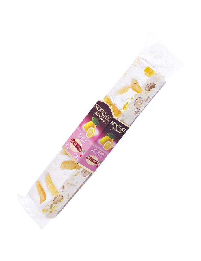 Торроне с кремом лимончелло и меренгой 100 г, Torrone tenero variegato con crema al liquore Limoncello e granella di meringhe, Quaranta, 100 g