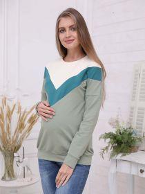 Джемпер для беременных и кормящих 2-НМ 57314 оливковый/зеленый/молочный