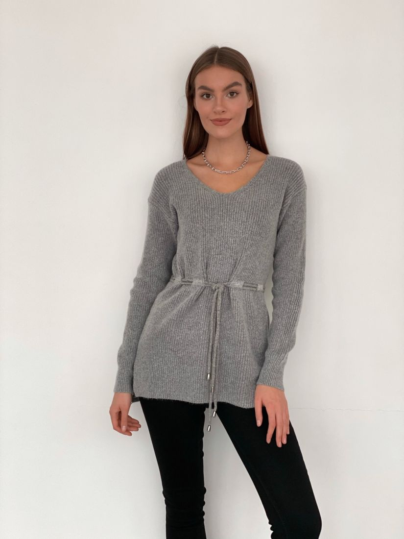 s3348 Удлинённый пуловер с кулиской на талии серый