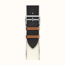 Ремешок Apple Watch Hermès Black/White/Gold Leather Single Tour из кожи (для корпуса 44 мм)