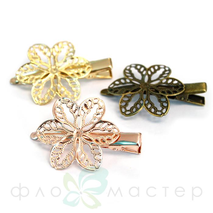 Основа-зажим с декоративным цветком (цвет бронза)