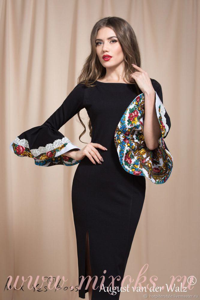 Черное платье футляр с платком