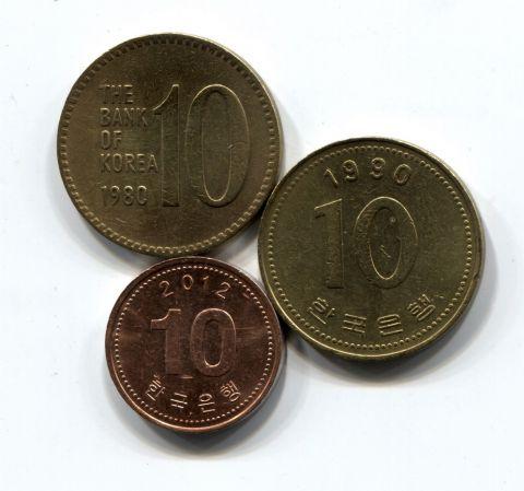 Набор монет Южная Корея 1980-2012 3 шт. НАБ КОР-001