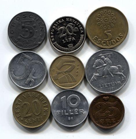 Набор монет Европы 1974-2011 9 шт. НАБ ЕВРО-002