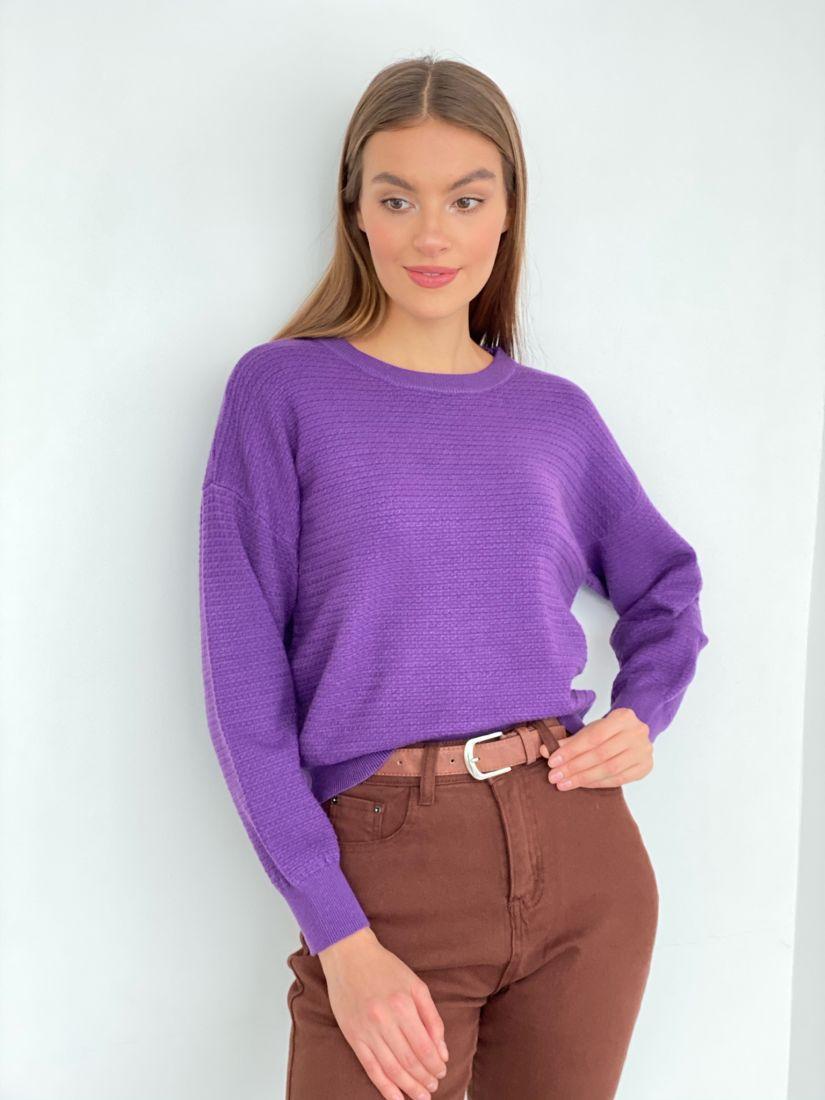 s3370 Джемпер с фактурной вязкой фиолетовый