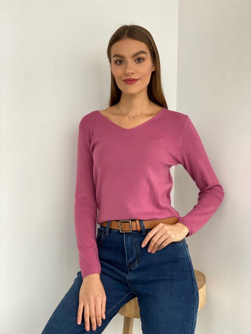 s3372 Тонкий пуловер розовый