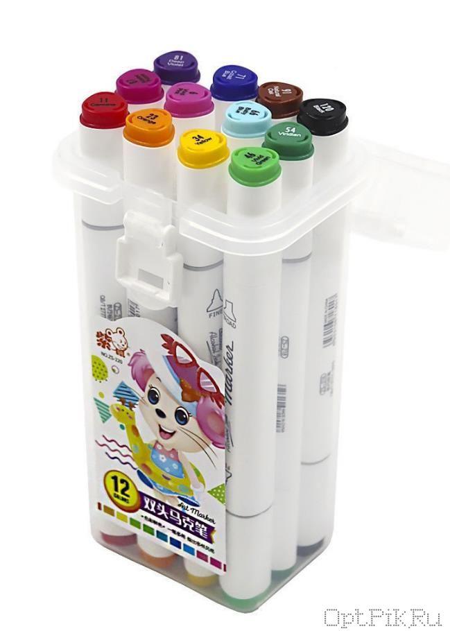 Маркеры для скетчинга 12 цветов в коробочке
