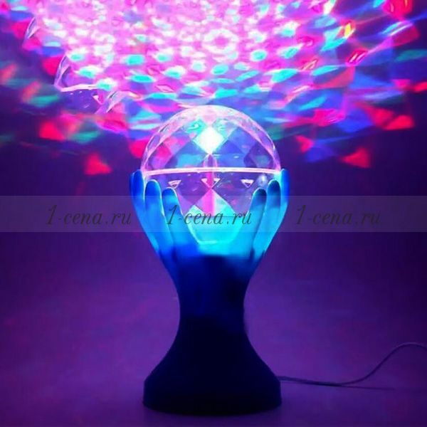 Разноцветная вращающаяся лампа LED РУКИ на подставке