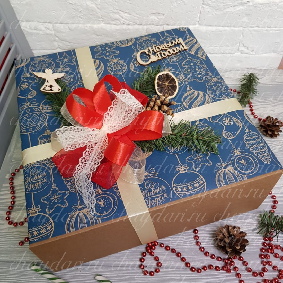 """Новогодний набор с кофе, сладостями, и туркой """"Ангелочек на елке"""""""