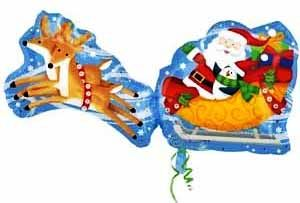 Воздушный шар Санта на санях фольга, 89 см