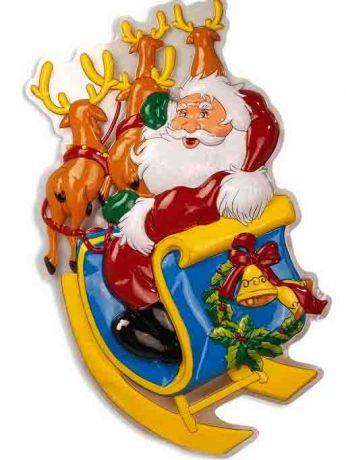Декорация Дед Мороз на оленях (50-100 см)