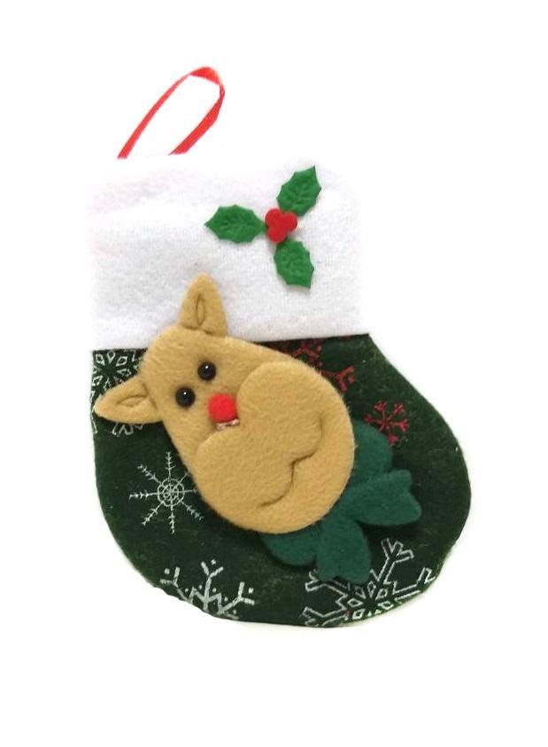 Новогодняя подвеска Носок для подарков Зелёный с оленем