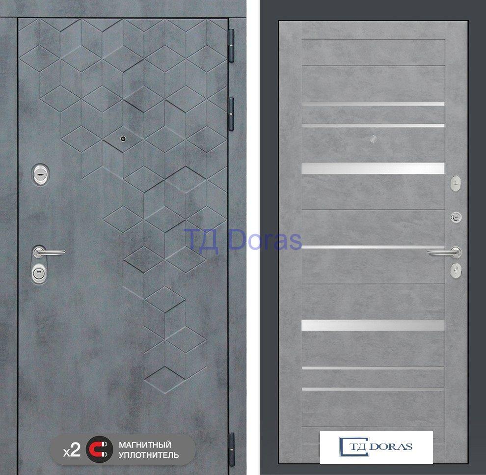 Входная дверь Бетон 20 - Бетон светлый, зеркальные вставки