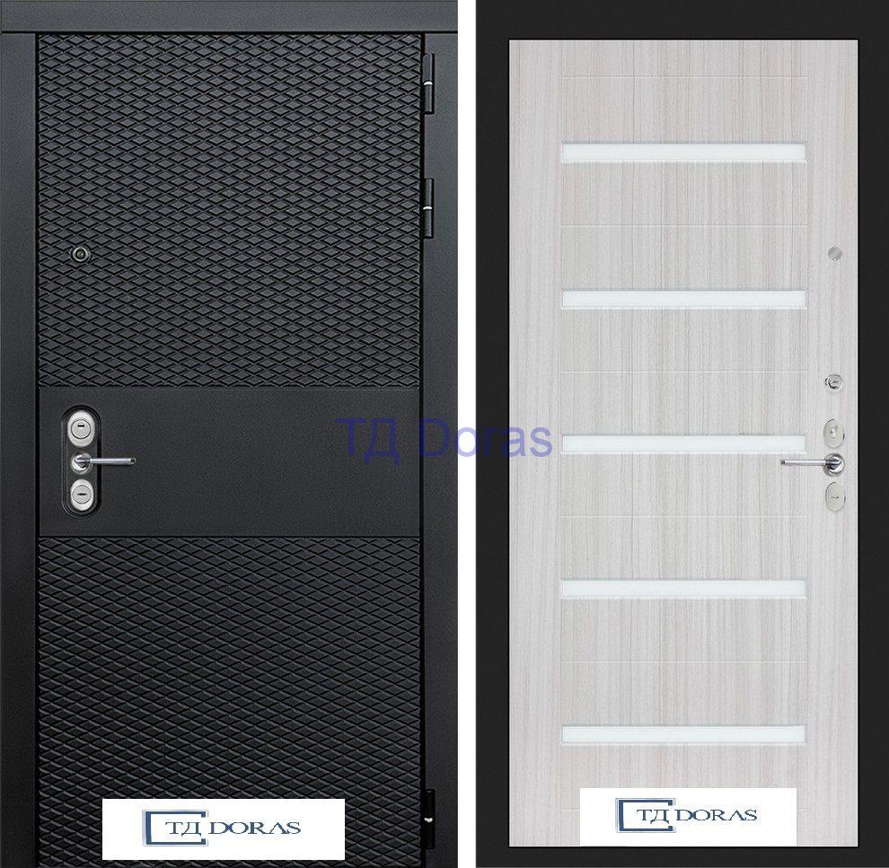 Входная дверь BLACK 01 - Сандал белый, стекло белое