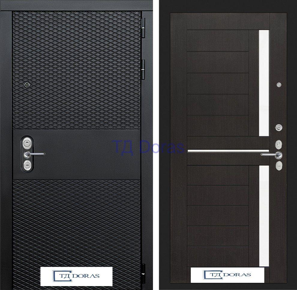 Входная дверь BLACK 02 - Венге, стекло белое