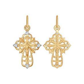 Крест из золота с фианитами 121357 SOKOLOV