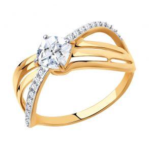 Кольцо из золота с фианитами Swarovski 81010527 SOKOLOV