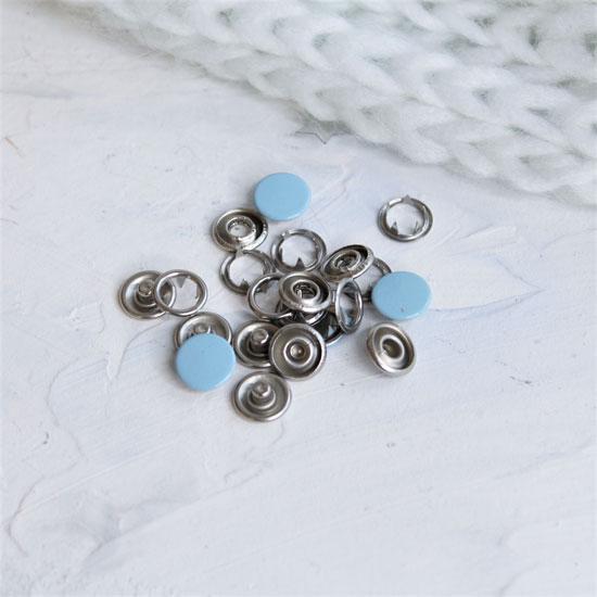 Кнопки рубашечные закрытые - Голубой металл 9.5 мм