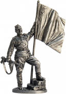 Гвардии ефрейтор пехоты Красной Армии с советским флагом. 1943-45 гг. СССР