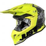 Just1 J39 Kinetic Сamo Red Lime Fluo Yellow Matt шлем внедорожный