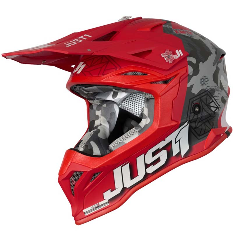 Just1 J39 Kinetic Сamo Black Grey Red Matt шлем внедорожный
