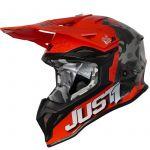 Just1 J39 Kinetic Сamo Grey Red Fluo Orange шлем внедорожный