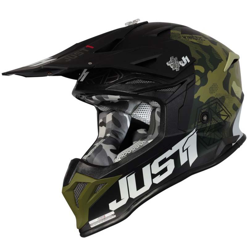 Just1 J39 Kinetic Сamo Army Green Black Matt шлем внедорожный
