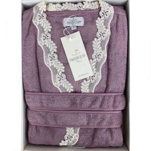 Женский махровый халат Dina фиолетовый
