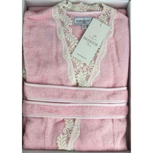 Женский махровый халат Dina Long розовый