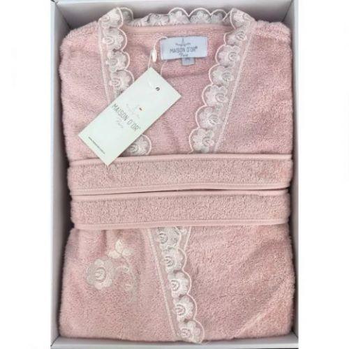Женский махровый халат Celyn розовый