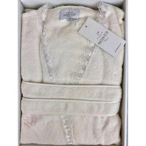Женский махровый халат Celyn Long кремовый