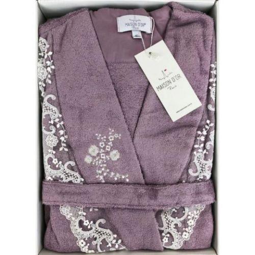 Женский махровый халат Neria сиреневый