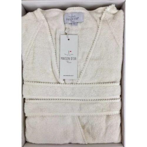 Женский махровый халат Lisa кремовый