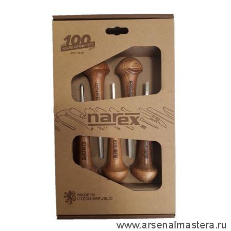 Набор из 5 чешских профессиональных резцов-штихелей с грибовидной рукояткой NAREX NB Profi 8683 00