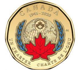 75 лет  ООН Канада 1 доллар 2020 2 монеты(цветная + простая)