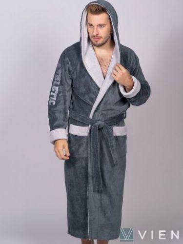 Мужской спортивный бамбуковый халат Athletic серый