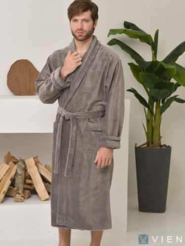 Мужской махровый халат из бамбука Daniel дымчатый