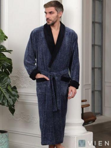 Мужской махровый халат из бамбука Cezar синий