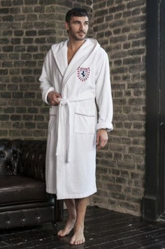 Мужской махровый халат из бамбука Milano белый