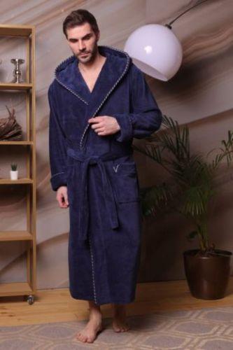 Мужской махровый халат с капюшоном Zevs джинс
