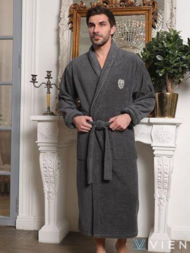 Мужской махровый халат из микрокоттона Luxor мокко