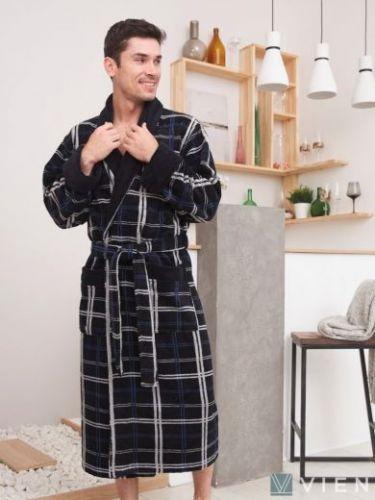 Мужской махровый халат из бамбука Stockholm navy