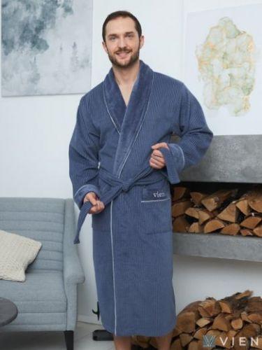 Мужской махровый халат из бамбука Mark II denim