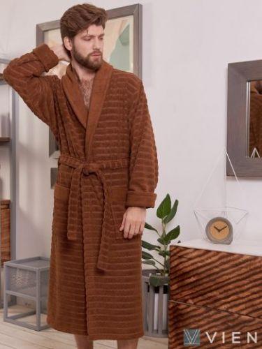 Мужской махровый халат Wave chokolate