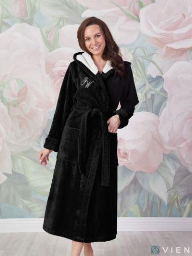 Женский махровый халат Violetta черный
